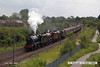 140602-007     A stunning sight!! former LMS steam loco's, 8F 2-8-0 no 48151, Jubilee 4-6-0 no 45699 Galatea, and Royal Scot 4-6-0 no 46115 Scots Guardsman are seen approaching Newark North Gate, with train 5Z70, the 07.59 Dereham to Carnforth (Steamtown). They were returning to base at Carnforth after attending a gala weekend at the Mid Norfolk Railway.