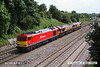 140606-028  DB Schenker class 60 'super tug' no 60044 is captured passing Hasland, Chesterfield, powering 'light engine' movement 0D01, the 13.27 Toton T.M.D. to Doncaster L.I.P. with class 66's no's 66250 & 66008 'dead in tow'.