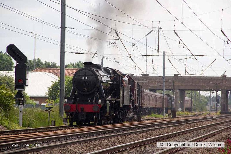 140602-025     Former LMS steam loco's, 8F 2-8-0 no 48151, Jubilee 4-6-0 no 45699 Galatea, and Royal Scot 4-6-0 no 46115 Scots Guardsman are seen pulling away from Newark North Gate, with train 5Z70, the 07.59 Dereham to Carnforth (Steamtown). They were returning to base at Carnforth after attending a gala weekend at the Mid Norfolk Railway.