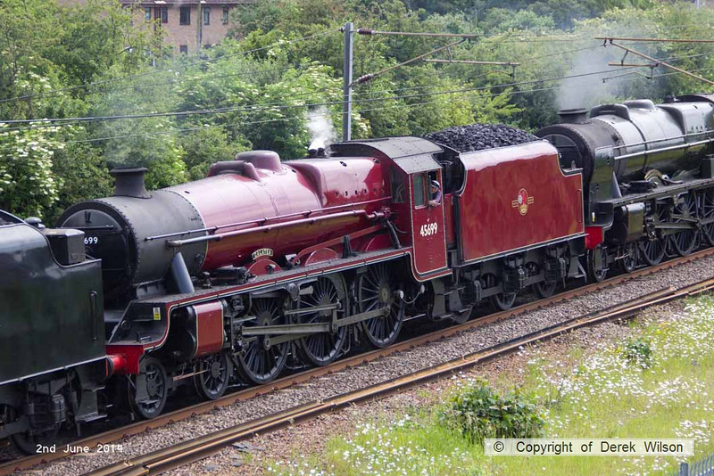 140602-013          LMS Jubilee 4-6-0 no 45699 Galatea sandwiched between 8F no 48151 & Royal Scot no 46115 Scots Guardsman. Seen from Beacon Hill Road bridge, Newark, heading back to base with 5Z70, the 07.59 Dereham to Carnforth (Steamtown).