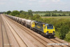 140612-022     Freightliner class 70 no 70011 is captured passing Cossington, powering train 6M01, the 11.10 Tinsley yard to Bardon Hill quarry, empty aggregates hoppers.