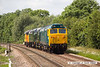140612-010     Class 50 no 50007 Hercules leads loco convoy 0Z50, the 10.38 Washwood Heath to Sheringham. Captured passing Frisby with D8059, D306 & Colas class 37 no 37219 all in-tow
