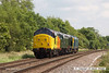 140612-013     Class 50 no 50007 Hercules leads loco convoy 0Z50, the 10.38 Washwood Heath to Sheringham past Frisby with D8059, D306 and Colas class 37 no 37219 all in-tow. Captured heading away from the camera with the immaculate 37219 nearest, at the rear.