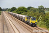 140612-020     Freightliner class 70 no 70011 is captured passing Cossington, powering train 6M01, the 11.10 Tinsley yard to Bardon Hill quarry, empty aggregates hoppers.
