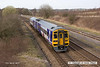 140319-031     Northern Rail class 158 unit no 158904 is seen passing Stonebroom, heading away from the camera with 1Y36, the 14.17 Nottingham to Leeds.