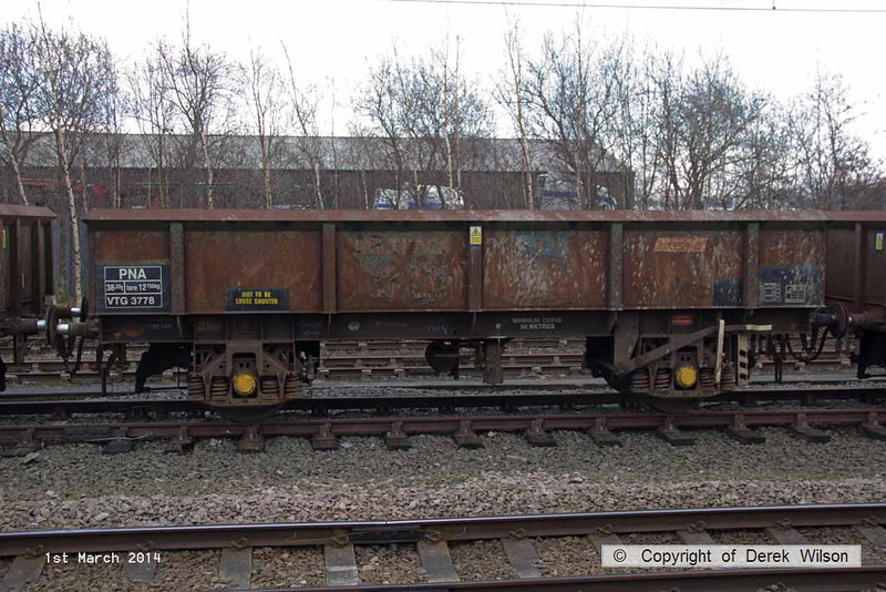 140301-015     Four wheel open wagon, type PNA no VTG 3778. seen at Newark North Gate in the consist with the Railvac.