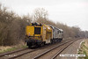 140310-016     Heading away from the camera is DCR class 31 no 31190 with class 56 No 56312 & Railvac no DR9970 9515 110-4 in tow, seen passing Frisby as 6Z56, the 09.30 Chaddesden sidings to Peterborough, Eastfield sidings.
