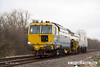 140310-010     Volker Rail's Matisa track tamper no DR75404 is captured passing Frisby, running as 6J70, the 09.45 Manton Junction Ace sidings to Chaddesden sidings.