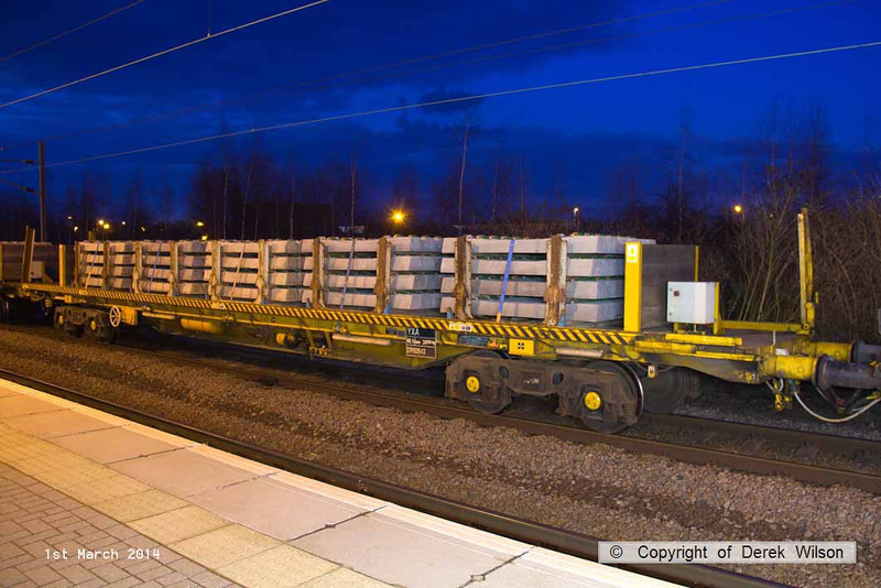 140301-042     Wagon type YXA no DR92643, loaded with new concrete sleepers. Seen at Newark North Gate in the consist of 4Z34, the Doncaster Wood Yard to Whitemoor Yard.