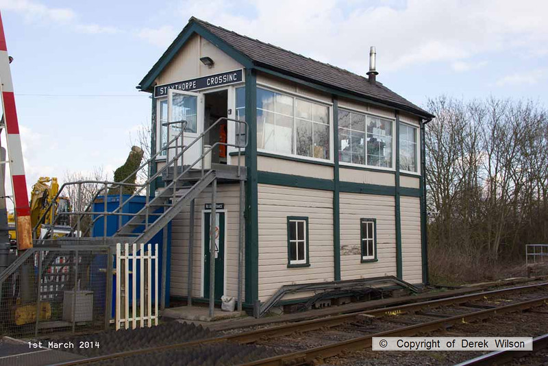 140301-006     Staythorpe Crossing signalbox. I thought I'd best stop & get some pictures of this before it's too late.