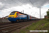 140506-022     A East Midlands Trains HST set, on hire to East Coast Trains speeds through Newark with 1A33, the 13.45 Leeds to London King's Cross. Seen heading away from the camera with 43073 nearest, at the rear. 43049 was leading.