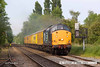 140520-024     Direct Rail Services class 37 no 37604 with Network Rail's class 73 no  73138 tucked in behind, is seen passing through Lowdham with test train 1Q25, the 10.00 Doncaster West Yard to Derby RTC. The pair had left the RTC the previous morning with 1Q24 to Doncaster West Yard, with much of the routes covered being a first for the class 73 electro-diesels. Unfortunately whilst at Lincoln the 37 ran round to the front of the train, denying the 73 the honour of leading the train back to the RTC.