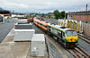 228 shunts the MK3 coaches at Adalaide Depot. Sun 20.07.14
