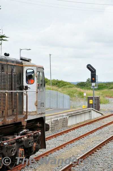 """RL568 is """"off"""" for the Waterford Branch. Rosslare Strand. 1010 Rosslare Strand - Waterord Weedspray Train. Mon 21.07.14"""