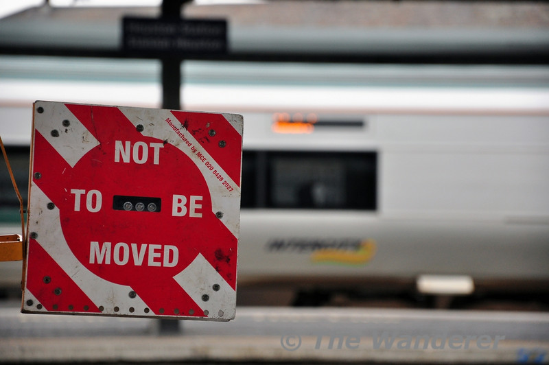 A Do Not Move Board. At Heuston these are placed on trains to ensure they are not moved while maintenance staff fuel, water and toilet discharge the train. Sun 16.03.14