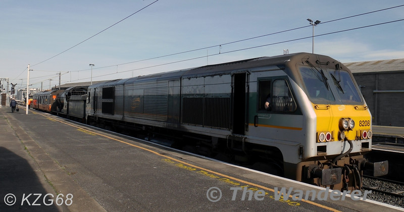 Shortly after arriving from Inchicore, (8)208 stands at Connolly hauling the RPSI's 461. Also in the consist for braking purposes is BR Van 3185. 461 will be in action next Sunday with a RPSI Railtour to Mullingar. Wed 19.03.14. <br /> <br /> Photo courtesy of KZG68