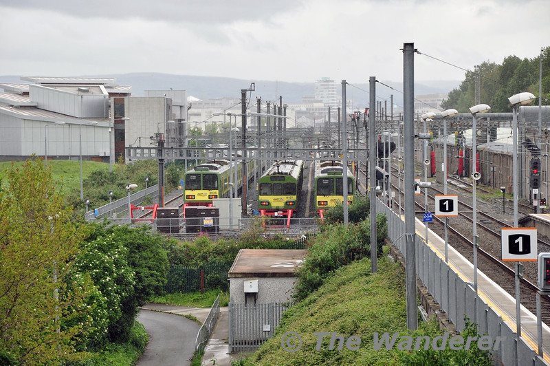 EMU's stabled at Fairview New Sidings. 8535 + 8536, 8107 & 8521 + 8522. Sun 11.05.14