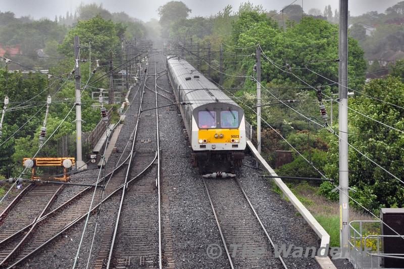 9003 slows for a signal check at Clontarf Road. 1300 Belfast Central - Dublin Connolly. Sun 11.05.14