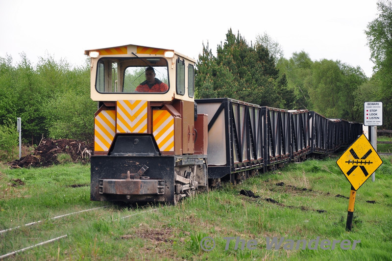 LM327 brings its empty Peat Train out of Coolnamona Works as it heads to Clonkeen Bog for another load of milled peat. Tues 06.05.14