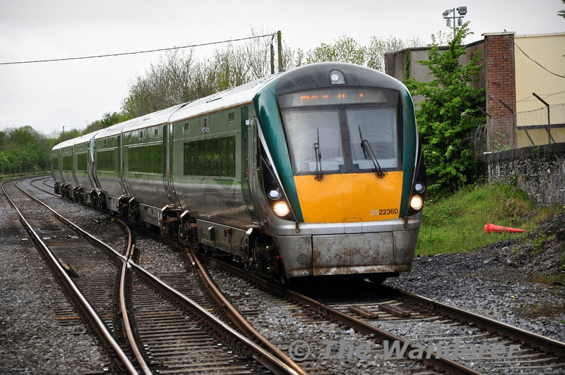 22060 + 22005 passes Newbridge with the 0945 Westport - Heuston. This train is booked 3+4ICR on Saturday only but was only 2x3ICR today. Sat 10.05.14