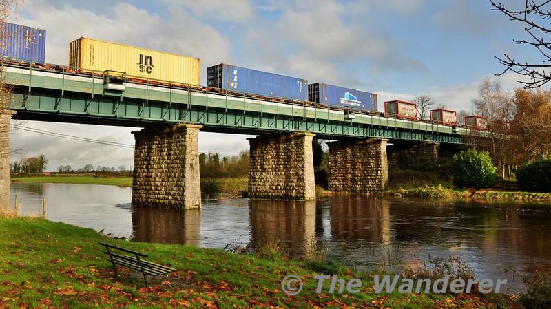 IWT Container Train crossing Barrow Bridge Monasterevin. Sat 22.11.14