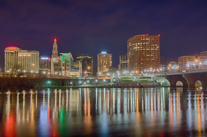 downtown Hartford Connecticut at dusk from across the Connecticut River.