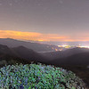 View of the Appalachians from Craggy Pinnacle near the Blue Ridge Parkway North Carolina at night