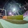 unloading at ski lift at night