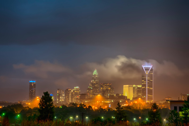 thunder storm clouds over charlotte skyline