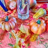 autumn harvest with pumpkins on table