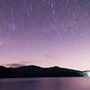 outer space over lake santeetlah in great smoky mountains in summer