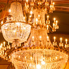Chrystal chandelier close-up. Glamour