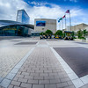 Charlotte, NC - October, 11, 2014 nascar hall of fame plaza in the morning