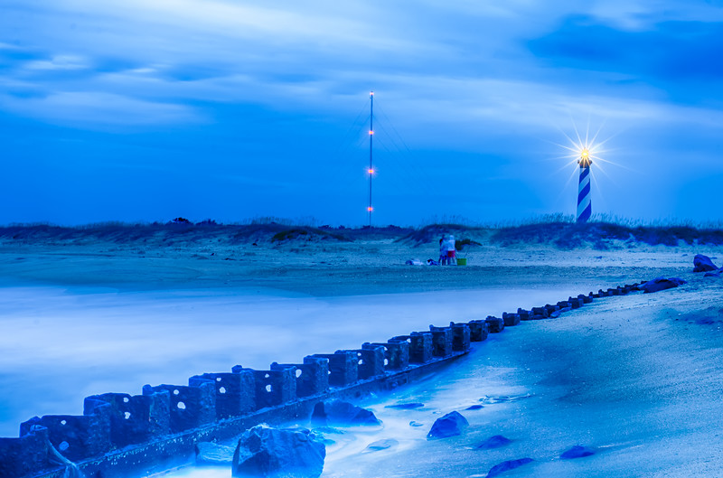 North Carolina OBX Retired Coastal Groyne Buxton Jetties on Old Lighthouse Beach