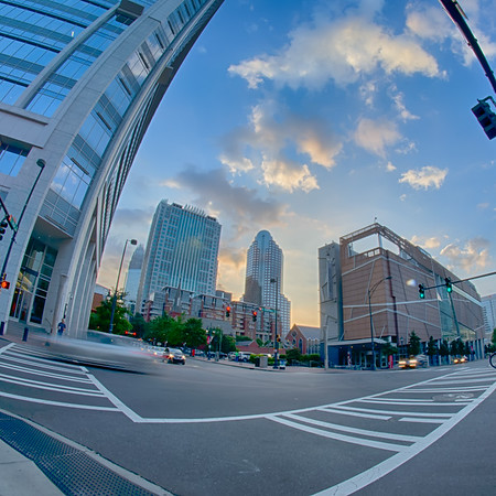 morning city skyline and streets in charlotte nc