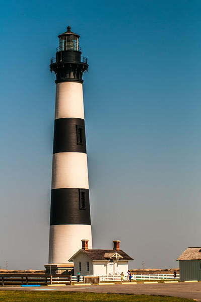 Black and white striped lighthouse at Bodie Island on the outer banks of North Carolina