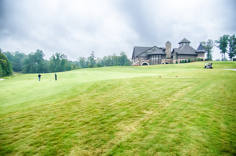 luxurious golf course on a cloudy day