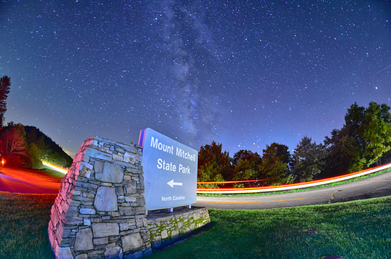 midnight at mount mitchell entrance sign