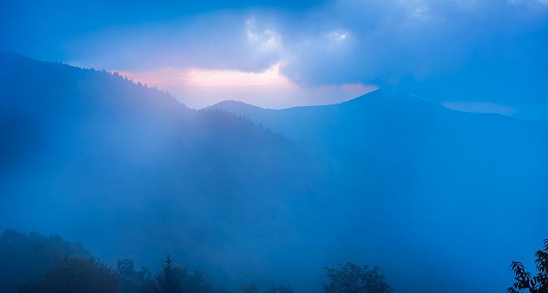 The Blue Ridge in fog, seen from Craggy Pinnacle, near the Blue Ridge Parkway, North Carolina.