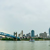 A panorama of Cincinnati Ohio under a cloudy sky