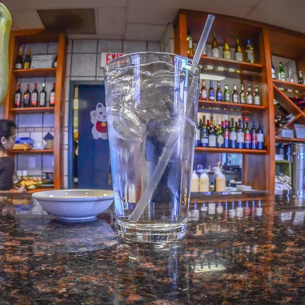 glass with water in a restaurant