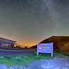The Craggy Pinnacle visitors center at night