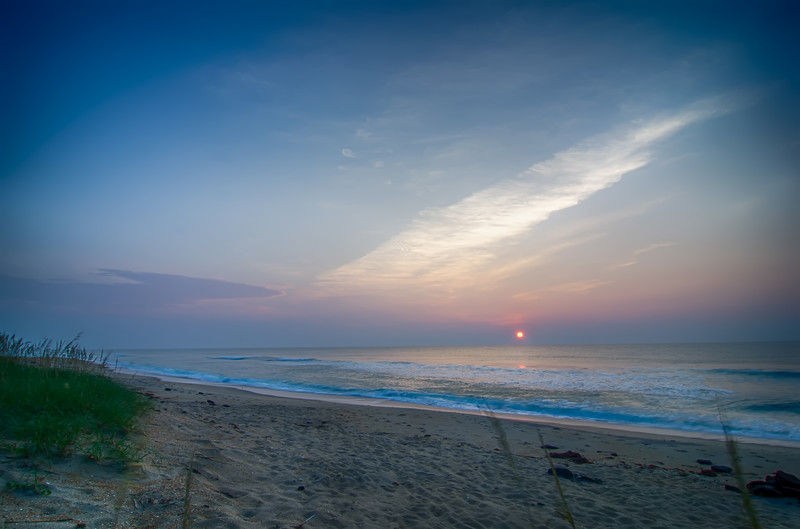 Beautiful empty beach at sunrise