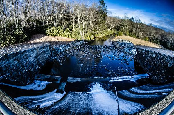 looking down lake river dam