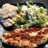 Chicken, mashed potatoes, salad