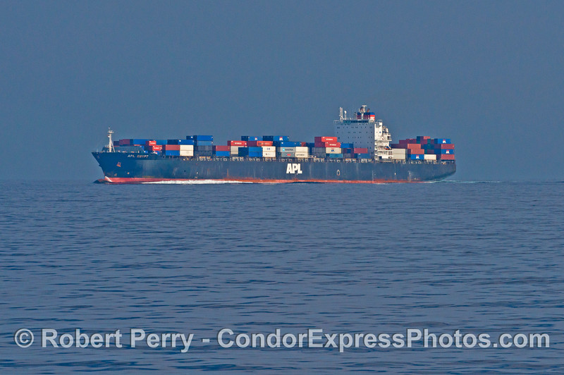 "The container vessel ""APL Egypt"" heads west in the northbound shipping lane of the Santa Barbara Channel."