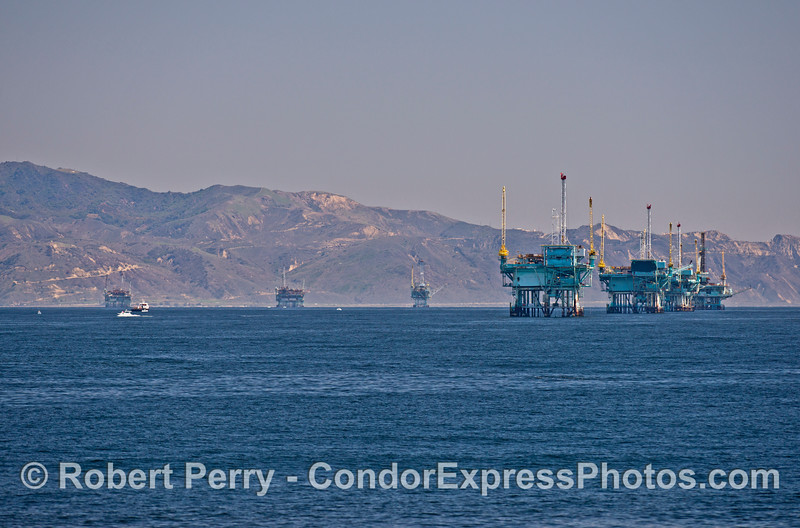 The offshore oil platform line up near Santa Barbara, CA.
