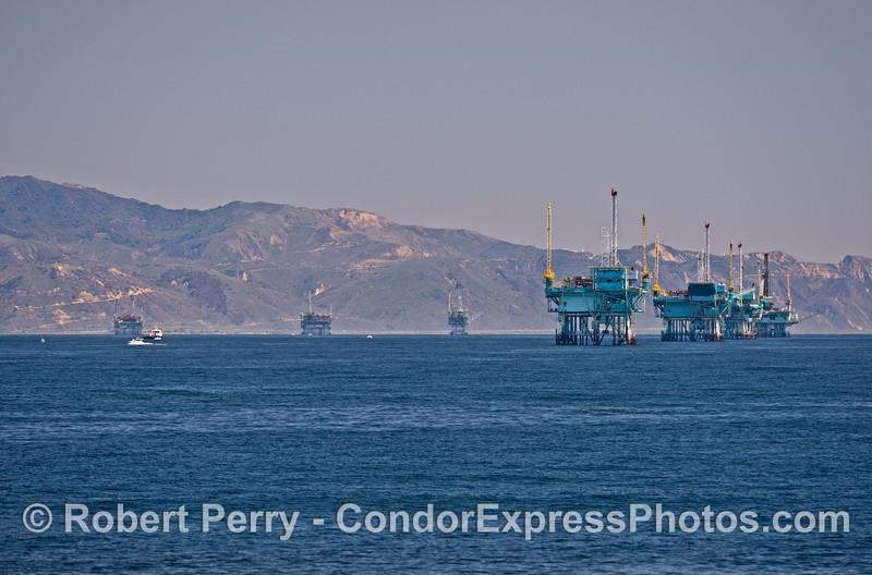 The offshore oil platform line up near Santa Barbara, CA.