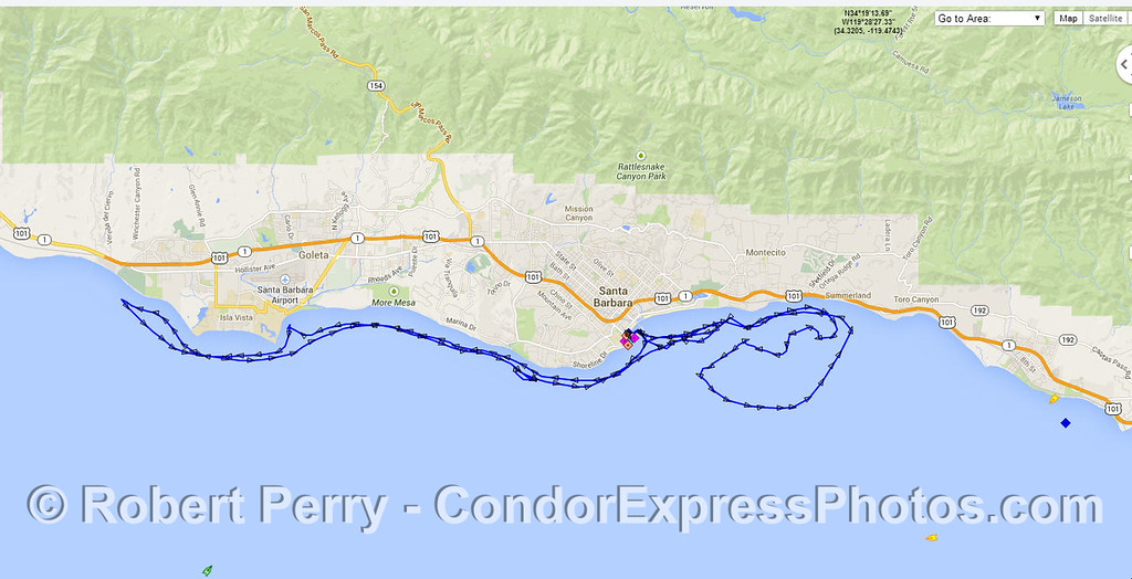 Track of the Condor Express on Monday April 28, 2014 - from AIS data.