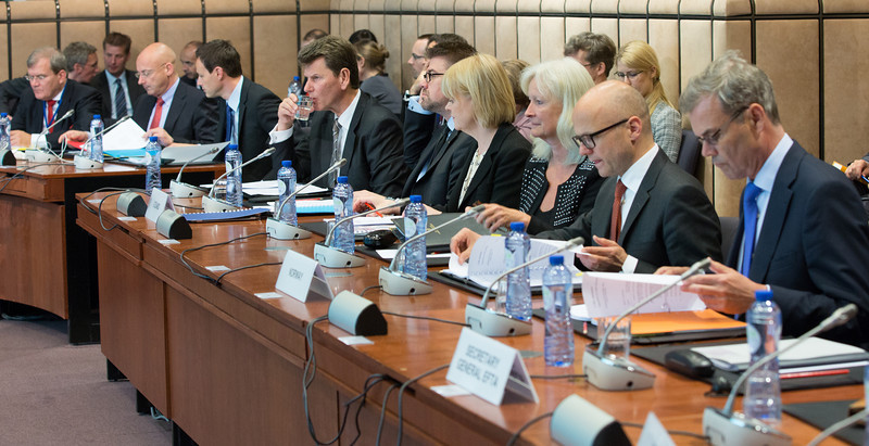 The EEA EFTA States' delegations to the EEA Council on 13 May 2014. From left: Liechtenstein, Iceland and Norway.
